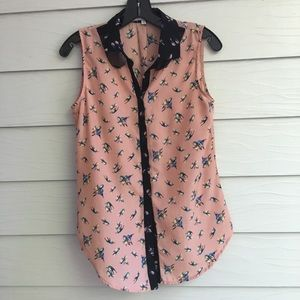 Button down collared pink blouse with bird print